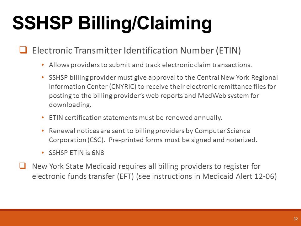 32  Electronic Transmitter Identification Number (ETIN) Allows providers to submit and track electronic claim transactions.
