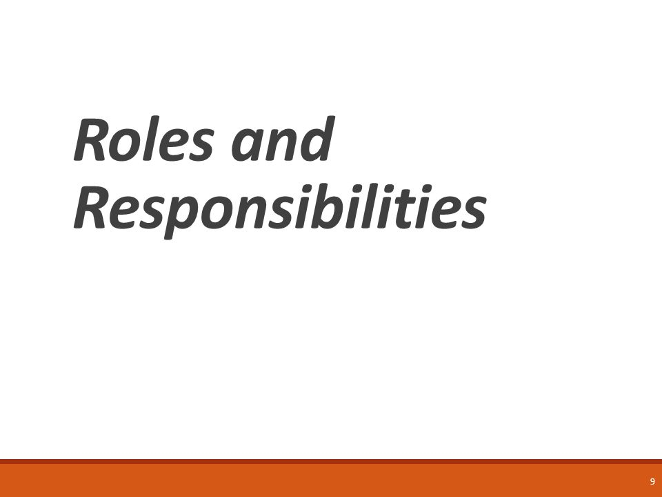 9 Roles and Responsibilities