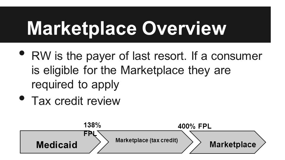 Marketplace Overview RW is the payer of last resort. If a consumer is eligible for the Marketplace they are required to apply Tax credit review 138% F
