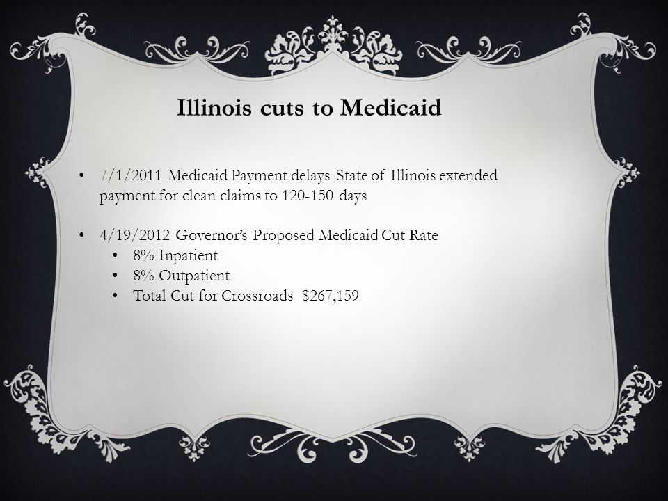 Illinois cuts to Medicaid 7/1/2011 Medicaid Payment delays-State of Illinois extended payment for clean claims to 120-150 days 4/19/2012 Governor's Proposed Medicaid Cut Rate 8% Inpatient 8% Outpatient Total Cut for Crossroads $267,159