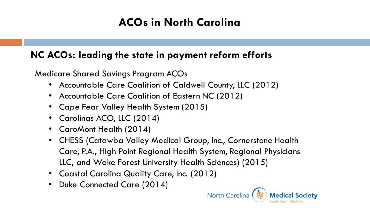 ACOs in North Carolina NC ACOs: leading the state in payment reform efforts Medicare Shared Savings Program ACOs Accountable Care Coalition of Caldwell County, LLC (2012) Accountable Care Coalition of Eastern NC (2012) Cape Fear Valley Health System (2015) Carolinas ACO, LLC (2014) CaroMont Health (2014) CHESS (Catawba Valley Medical Group, Inc., Cornerstone Health Care, P.A., High Point Regional Health System, Regional Physicians LLC, and Wake Forest University Health Sciences) (2015) Coastal Carolina Quality Care, Inc.