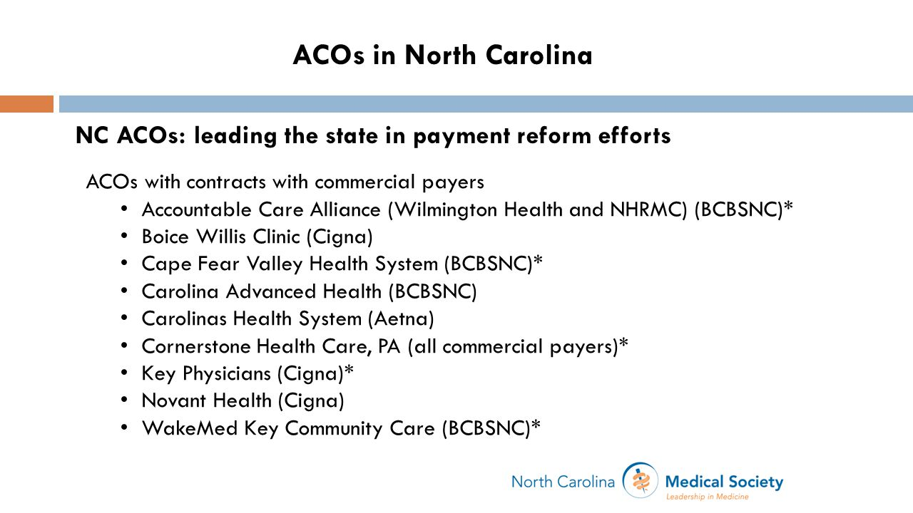 NC ACOs: leading the state in payment reform efforts ACOs with contracts with commercial payers Accountable Care Alliance (Wilmington Health and NHRMC) (BCBSNC)* Boice Willis Clinic (Cigna) Cape Fear Valley Health System (BCBSNC)* Carolina Advanced Health (BCBSNC) Carolinas Health System (Aetna) Cornerstone Health Care, PA (all commercial payers)* Key Physicians (Cigna)* Novant Health (Cigna) WakeMed Key Community Care (BCBSNC)* ACOs in North Carolina