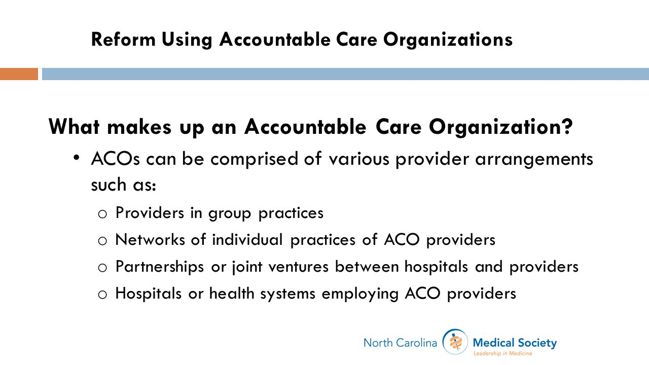 What makes up an Accountable Care Organization.