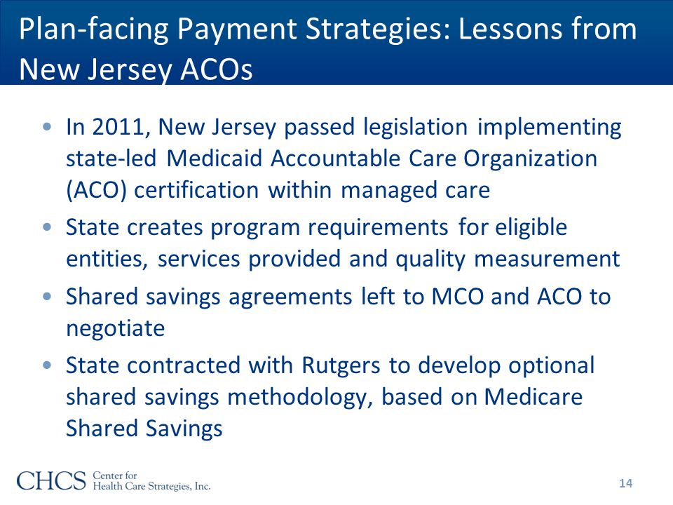 Plan-facing Payment Strategies: Lessons from New Jersey ACOs In 2011, New Jersey passed legislation implementing state-led Medicaid Accountable Care Organization (ACO) certification within managed care State creates program requirements for eligible entities, services provided and quality measurement Shared savings agreements left to MCO and ACO to negotiate State contracted with Rutgers to develop optional shared savings methodology, based on Medicare Shared Savings 14