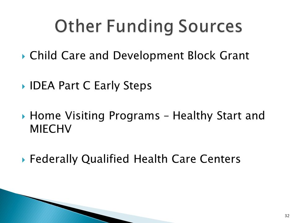  Child Care and Development Block Grant  IDEA Part C Early Steps  Home Visiting Programs – Healthy Start and MIECHV  Federally Qualified Health Care Centers 32