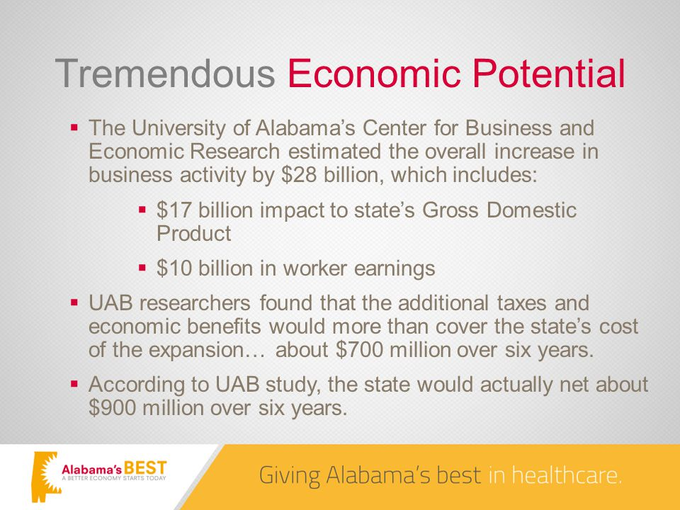 Tremendous Economic Potential  The University of Alabama's Center for Business and Economic Research estimated the overall increase in business activity by $28 billion, which includes:  $17 billion impact to state's Gross Domestic Product  $10 billion in worker earnings  UAB researchers found that the additional taxes and economic benefits would more than cover the state's cost of the expansion… about $700 million over six years.
