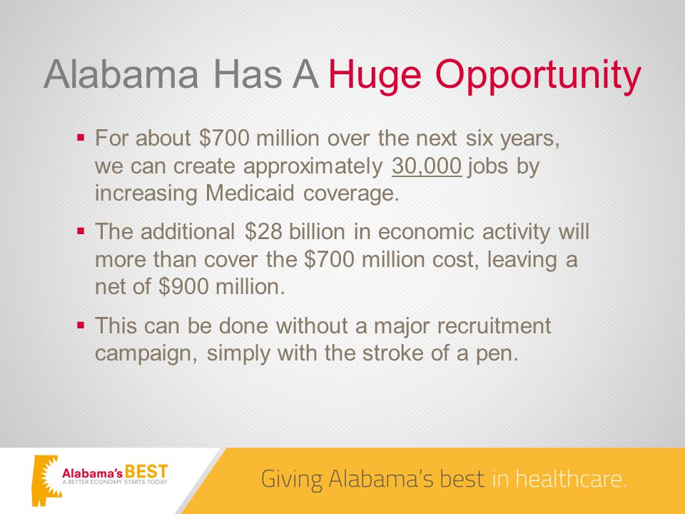 Alabama Has A Huge Opportunity  For about $700 million over the next six years, we can create approximately 30,000 jobs by increasing Medicaid coverage.