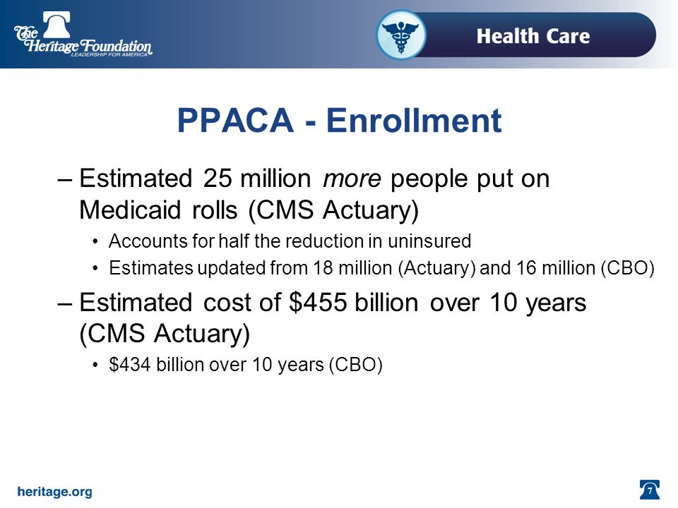 7 PPACA - Enrollment –Estimated 25 million more people put on Medicaid rolls (CMS Actuary) Accounts for half the reduction in uninsured Estimates updated from 18 million (Actuary) and 16 million (CBO) –Estimated cost of $455 billion over 10 years (CMS Actuary) $434 billion over 10 years (CBO)