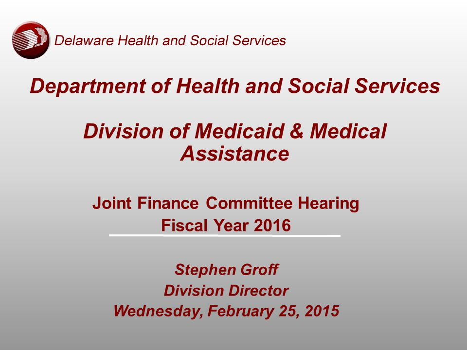Department of Health and Social Services Division of Medicaid & Medical Assistance Joint Finance Committee Hearing Fiscal Year 2016 Stephen Groff Division Director Wednesday, February 25, 2015