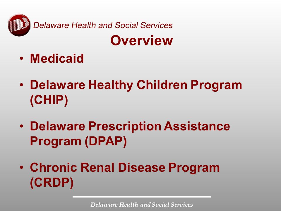 Delaware Health and Social Services Overview Medicaid Delaware Healthy Children Program (CHIP) Delaware Prescription Assistance Program (DPAP) Chronic Renal Disease Program (CRDP)