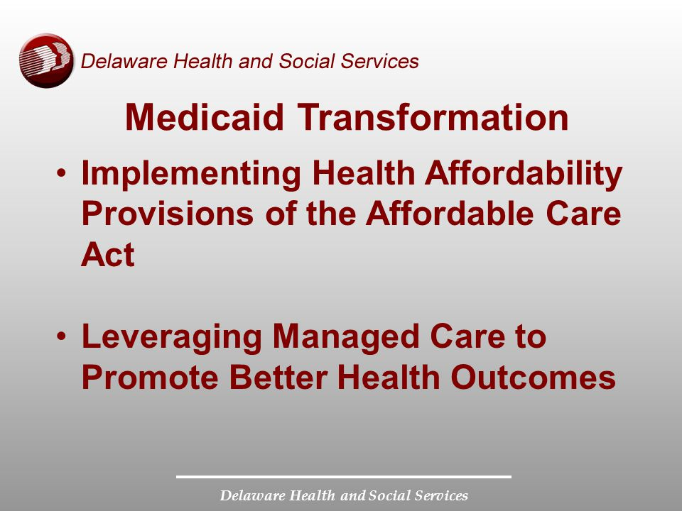 Delaware Health and Social Services Medicaid Transformation Enhancing Information Technology Strengthening Partnerships to Support System Delivery Reform
