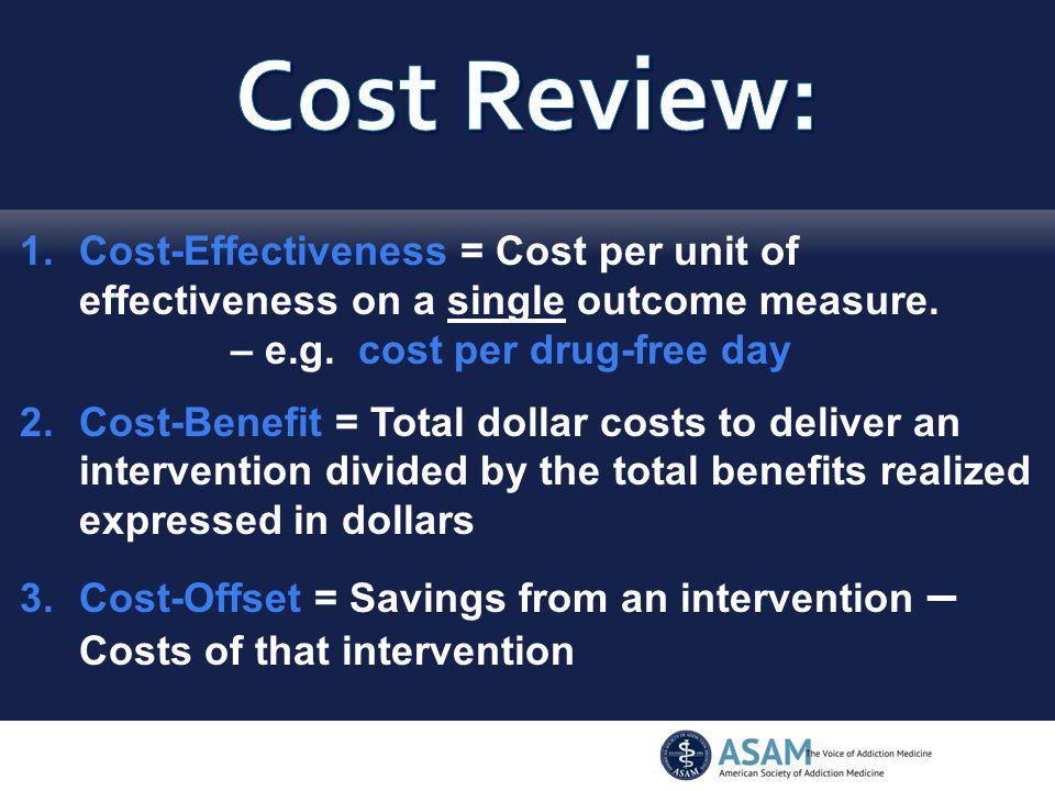 1.Cost-Effectiveness = Cost per unit of effectiveness on a single outcome measure.