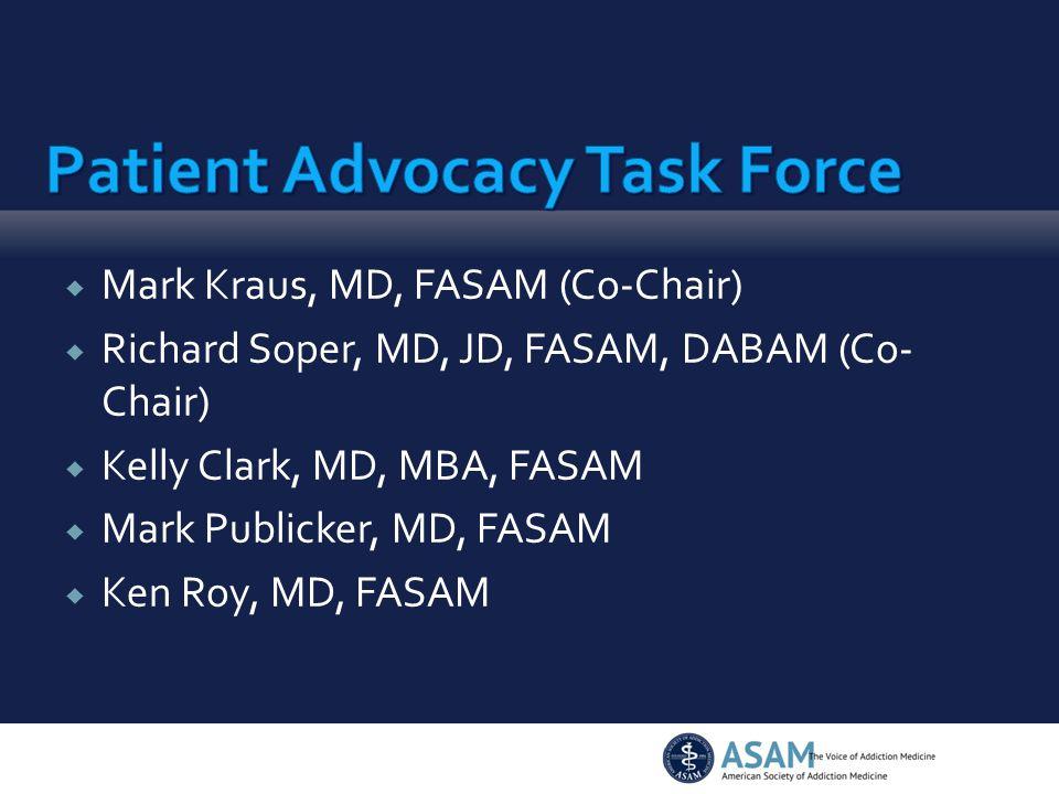  Mark Kraus, MD, FASAM (Co-Chair)  Richard Soper, MD, JD, FASAM, DABAM (Co- Chair)  Kelly Clark, MD, MBA, FASAM  Mark Publicker, MD, FASAM  Ken Roy, MD, FASAM