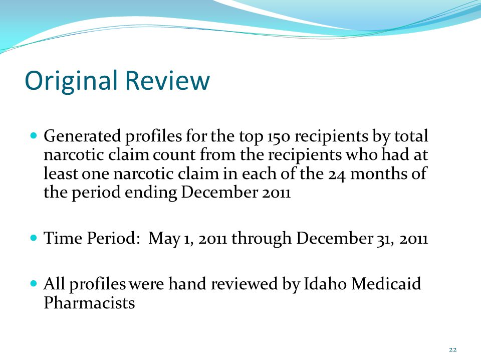 Original Review Generated profiles for the top 150 recipients by total narcotic claim count from the recipients who had at least one narcotic claim in