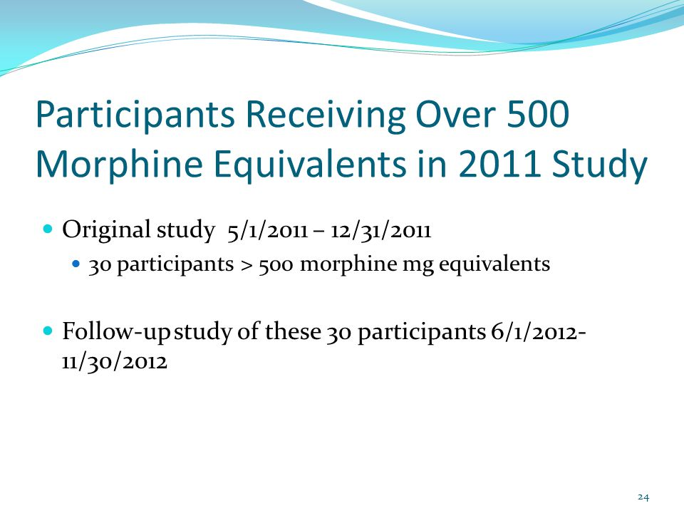 Participants Receiving Over 500 Morphine Equivalents in 2011 Study Original study 5/1/2011 – 12/31/2011 30 participants > 500 morphine mg equivalents