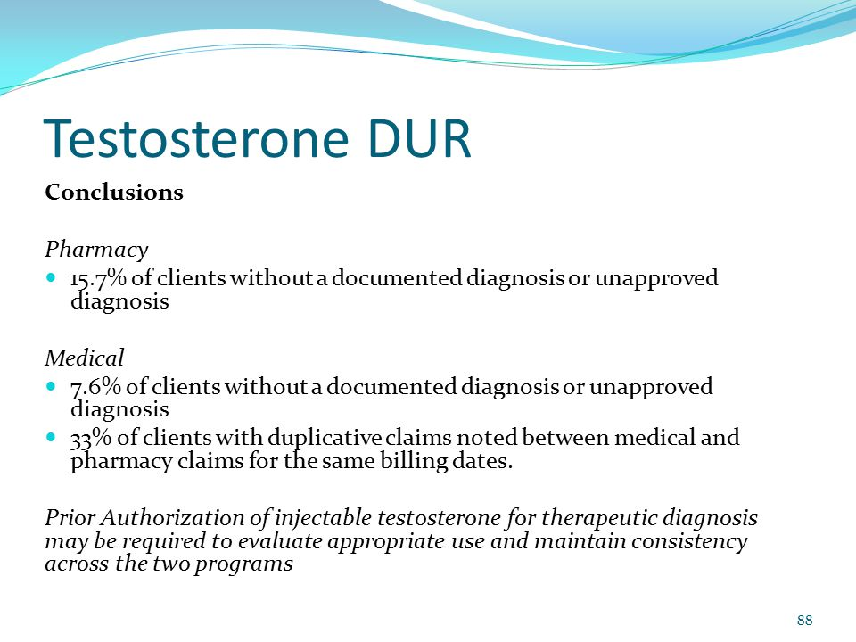 Testosterone DUR Conclusions Pharmacy 15.7% of clients without a documented diagnosis or unapproved diagnosis Medical 7.6% of clients without a docume