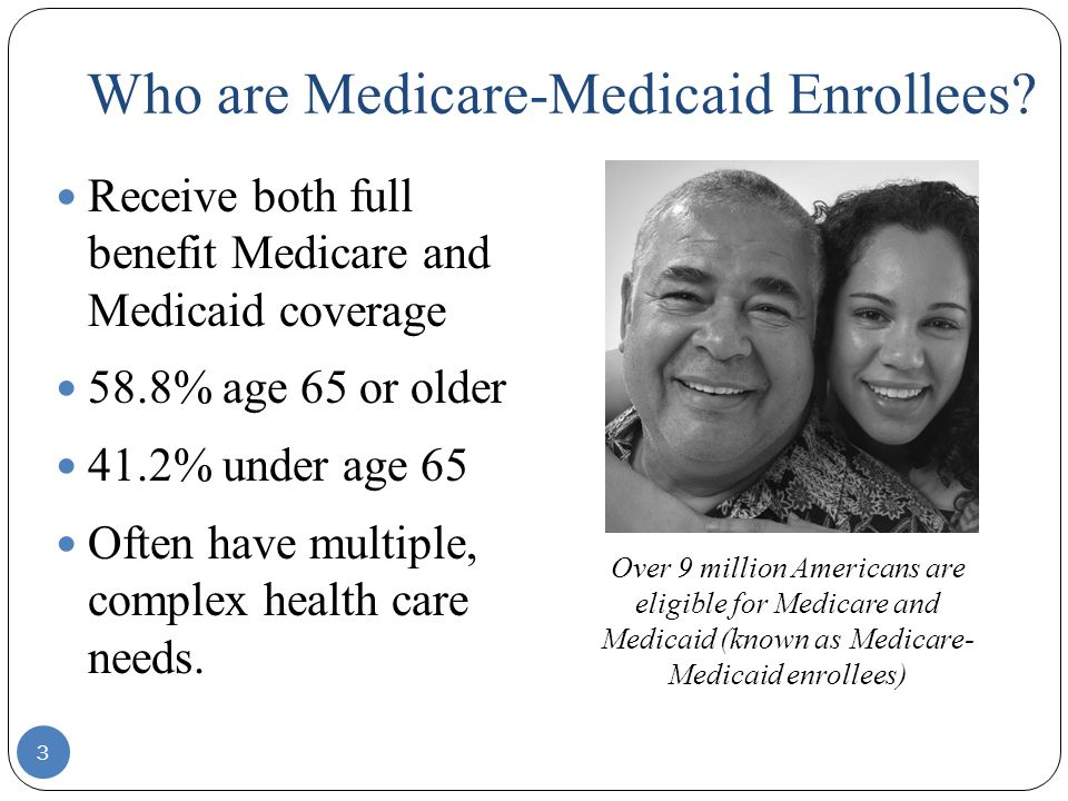 Who are Medicare-Medicaid Enrollees? Receive both full benefit Medicare and Medicaid coverage 58.8% age 65 or older 41.2% under age 65 Often have mult