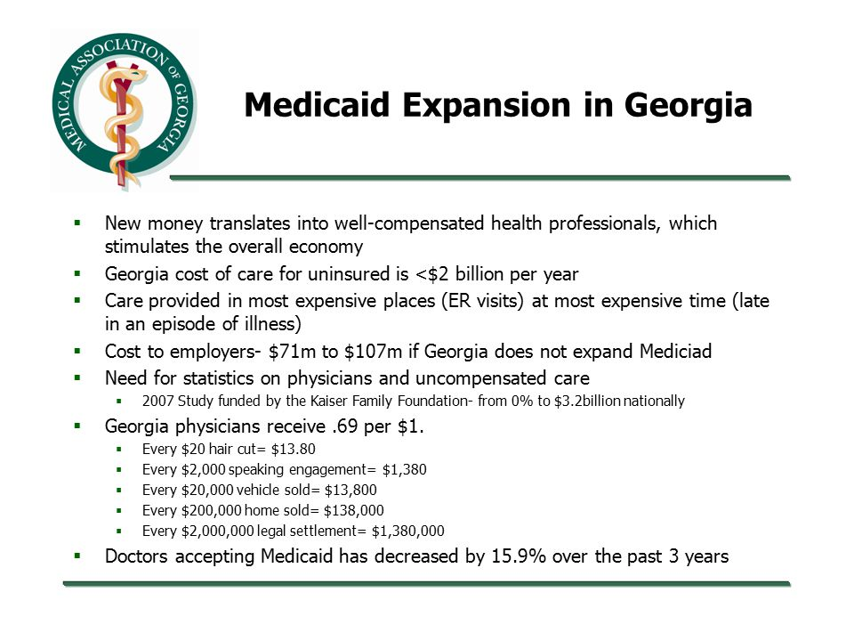 Medicaid Expansion in Georgia  New money translates into well-compensated health professionals, which stimulates the overall economy  Georgia cost of care for uninsured is <$2 billion per year  Care provided in most expensive places (ER visits) at most expensive time (late in an episode of illness)  Cost to employers- $71m to $107m if Georgia does not expand Mediciad  Need for statistics on physicians and uncompensated care  2007 Study funded by the Kaiser Family Foundation- from 0% to $3.2billion nationally  Georgia physicians receive.69 per $1.