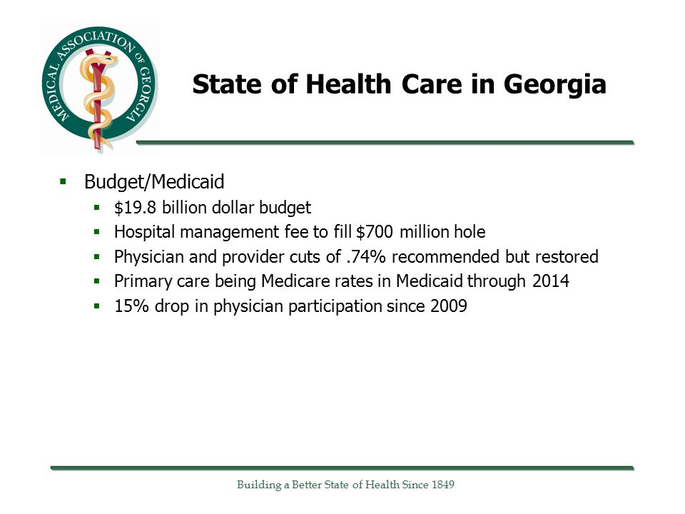State of Health Care in Georgia  Budget/Medicaid  $19.8 billion dollar budget  Hospital management fee to fill $700 million hole  Physician and provider cuts of.74% recommended but restored  Primary care being Medicare rates in Medicaid through 2014  15% drop in physician participation since 2009 Building a Better State of Health Since 1849