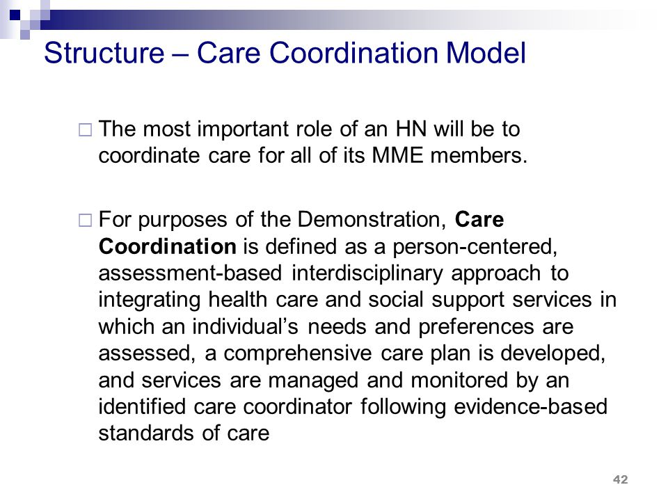 Structure – Care Coordination Model  The most important role of an HN will be to coordinate care for all of its MME members.