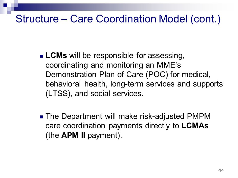 Structure – Care Coordination Model (cont.) LCMs will be responsible for assessing, coordinating and monitoring an MME's Demonstration Plan of Care (POC) for medical, behavioral health, long-term services and supports (LTSS), and social services.