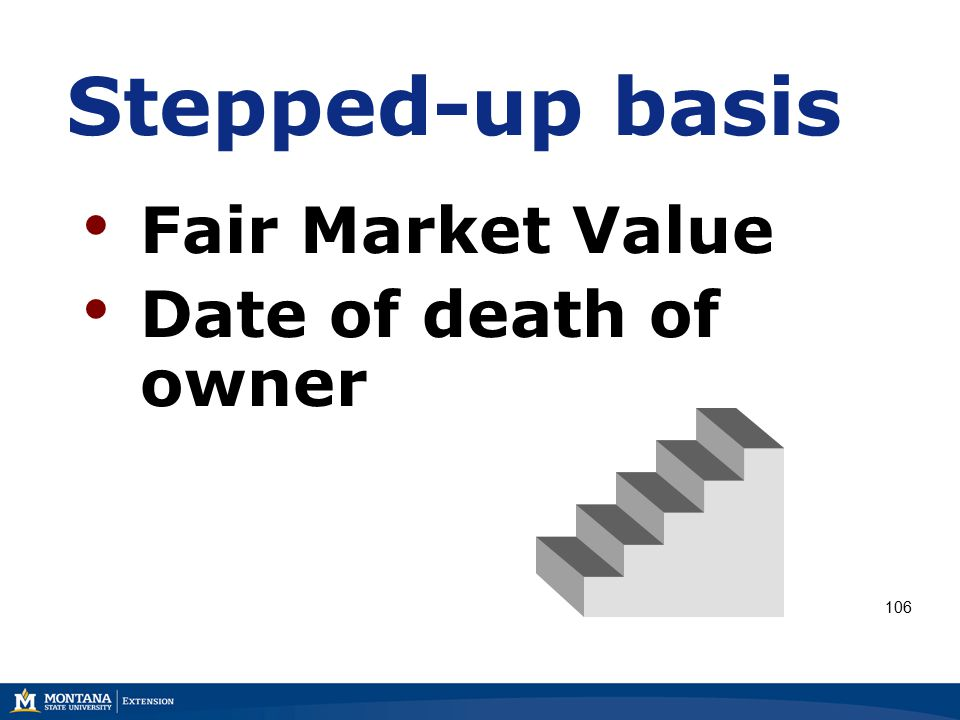 Stepped-up basis Fair Market Value Date of death of owner 106