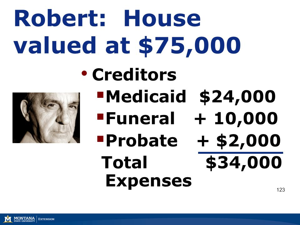 Creditors  Medicaid $24,000  Funeral + 10,000  Probate + $2,000 Total $34,000 Expenses Robert: House valued at $75,000 123