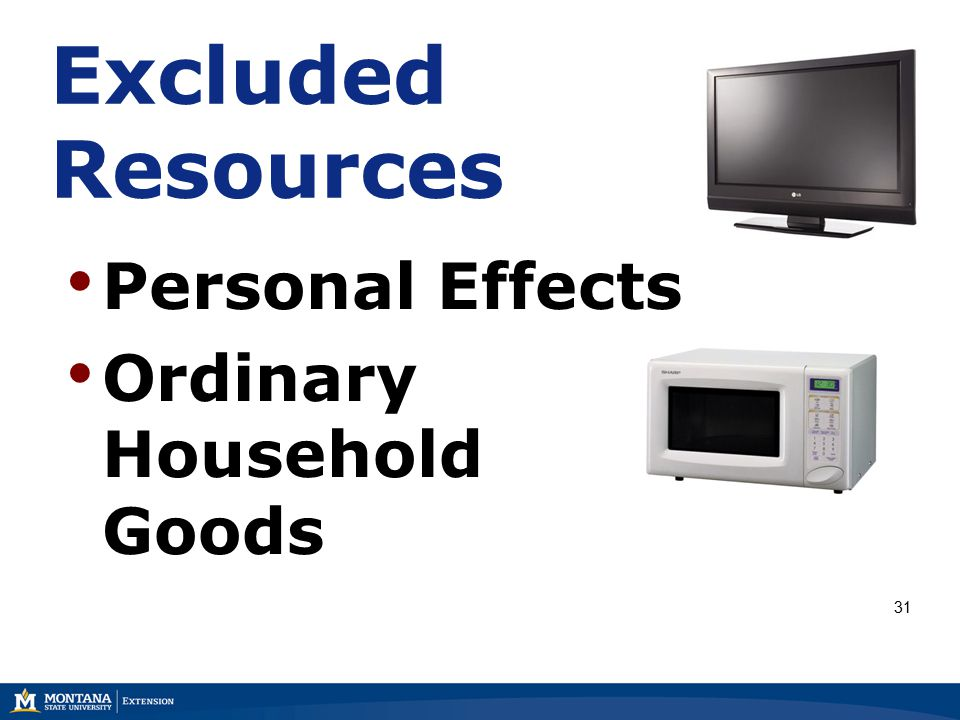Excluded Resources Personal Effects Ordinary Household Goods 31