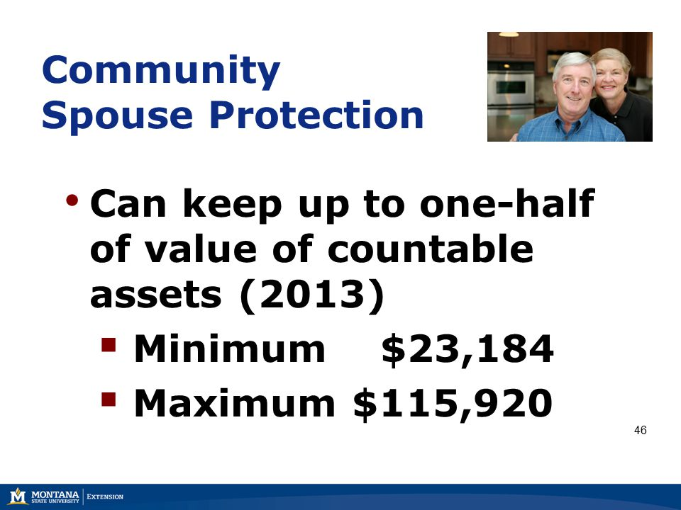 Community Spouse Protection Can keep up to one-half of value of countable assets (2013)  Minimum $23,184  Maximum $115,920 46