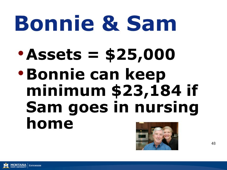 Bonnie & Sam Assets = $25,000 Bonnie can keep minimum $23,184 if Sam goes in nursing home 48