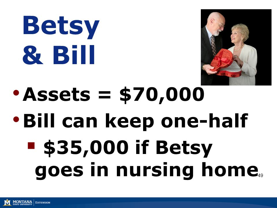 Betsy & Bill Assets = $70,000 Bill can keep one-half  $35,000 if Betsy goes in nursing home 49