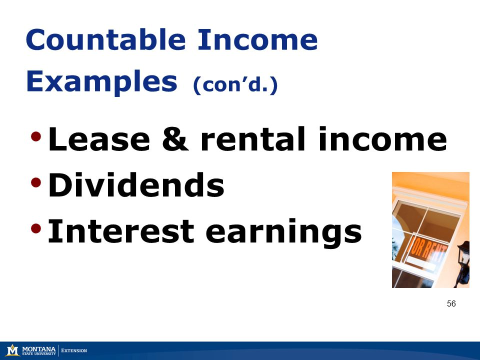 Countable Income Examples (con'd.) Lease & rental income Dividends Interest earnings 56