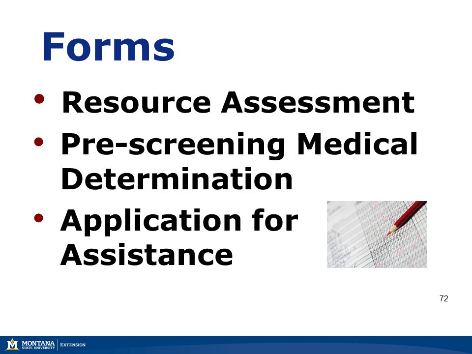 Forms Resource Assessment Pre-screening Medical Determination Application for Assistance 72