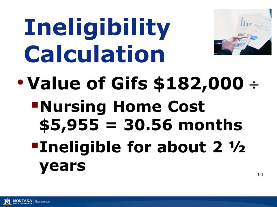 Ineligibility Calculation Value of Gifs $182,000   Nursing Home Cost $5,955 = 30.56 months  Ineligible for about 2 ½ years 90