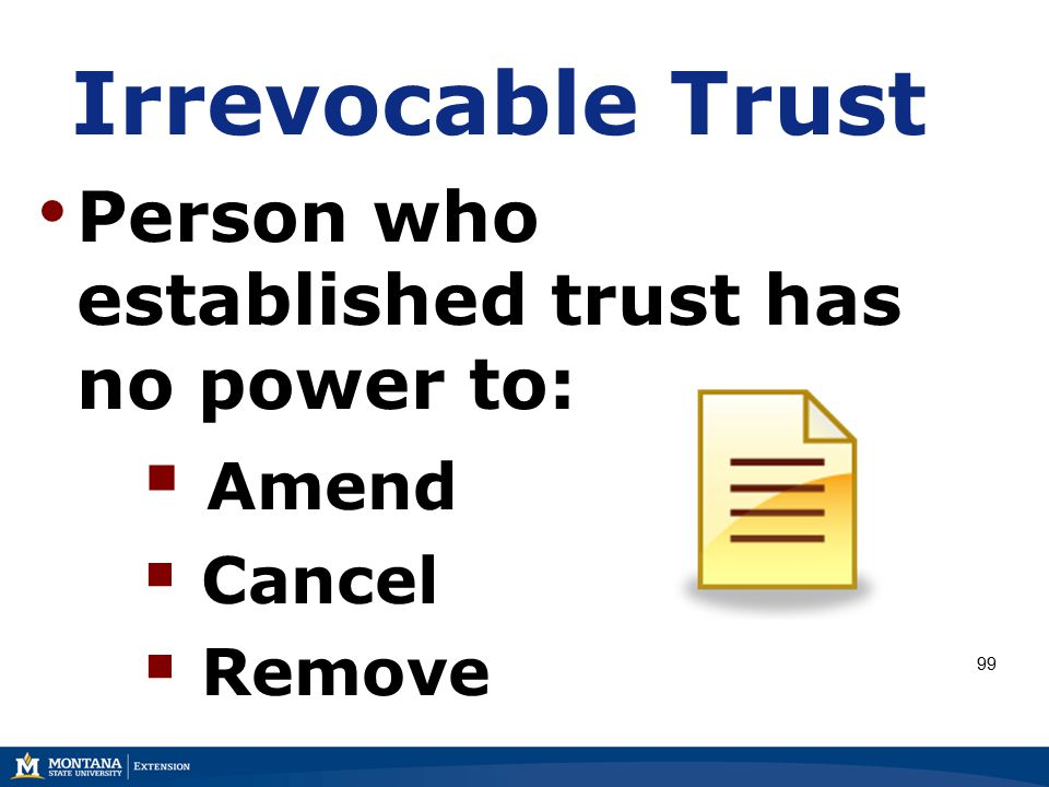 Irrevocable Trust Person who established trust has no power to:  Amend  Cancel  Remove 99