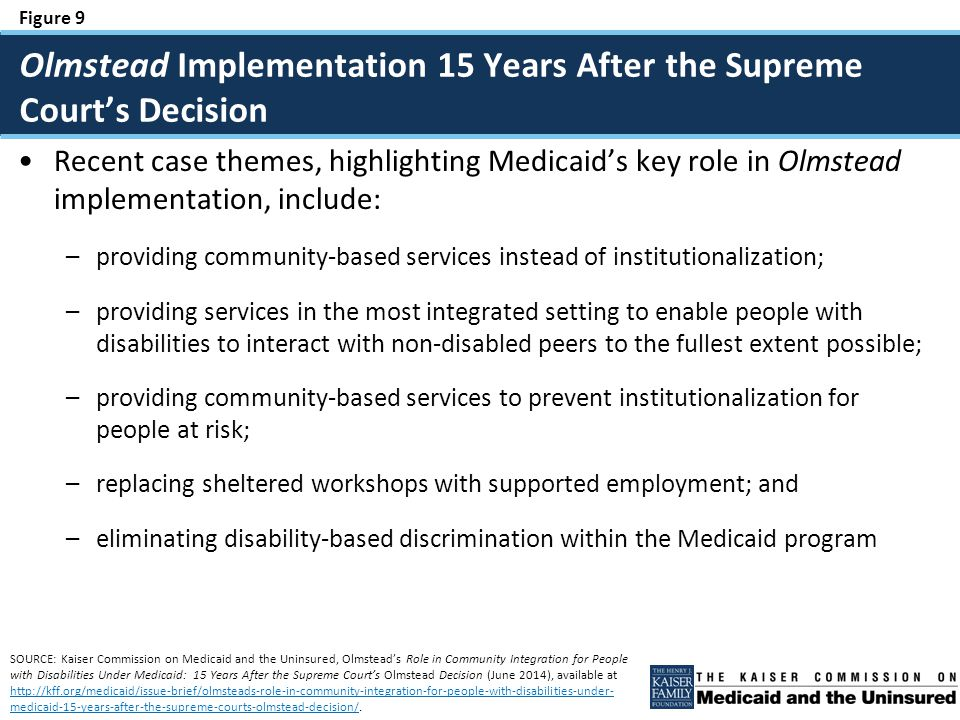 Figure 9 Recent case themes, highlighting Medicaid's key role in Olmstead implementation, include: –providing community-based services instead of institutionalization; –providing services in the most integrated setting to enable people with disabilities to interact with non-disabled peers to the fullest extent possible; –providing community-based services to prevent institutionalization for people at risk; –replacing sheltered workshops with supported employment; and –eliminating disability-based discrimination within the Medicaid program Olmstead Implementation 15 Years After the Supreme Court's Decision SOURCE: Kaiser Commission on Medicaid and the Uninsured, Olmstead's Role in Community Integration for People with Disabilities Under Medicaid: 15 Years After the Supreme Court's Olmstead Decision (June 2014), available at http://kff.org/medicaid/issue-brief/olmsteads-role-in-community-integration-for-people-with-disabilities-under- medicaid-15-years-after-the-supreme-courts-olmstead-decision/.