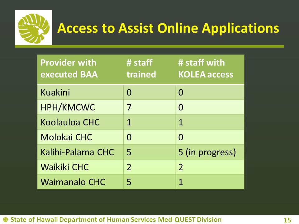 State of Hawaii Department of Human Services Med-QUEST Division Access to Assist Online Applications 15