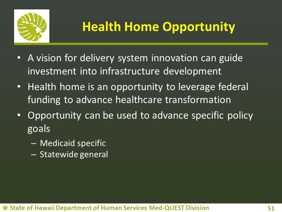 State of Hawaii Department of Human Services Med-QUEST Division Health Home Opportunity A vision for delivery system innovation can guide investment i