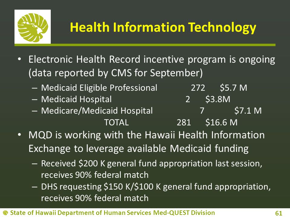 State of Hawaii Department of Human Services Med-QUEST Division Health Information Technology Electronic Health Record incentive program is ongoing (d