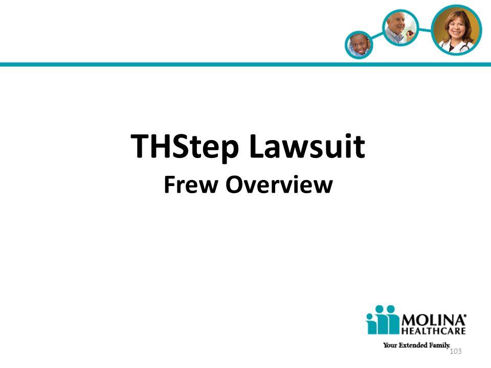 Headline Goes Here Item 1 Item 2 Item 3 THStep Lawsuit Frew Overview 103