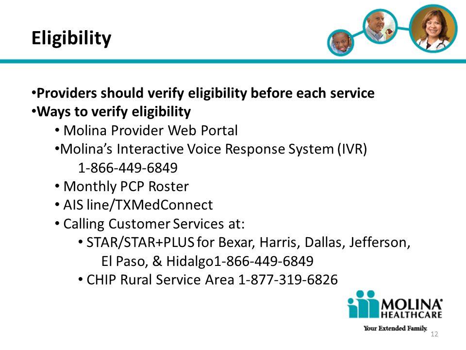 Headline Goes Here Item 1 Item 2 Item 3 Eligibility Providers should verify eligibility before each service Ways to verify eligibility Molina Provider