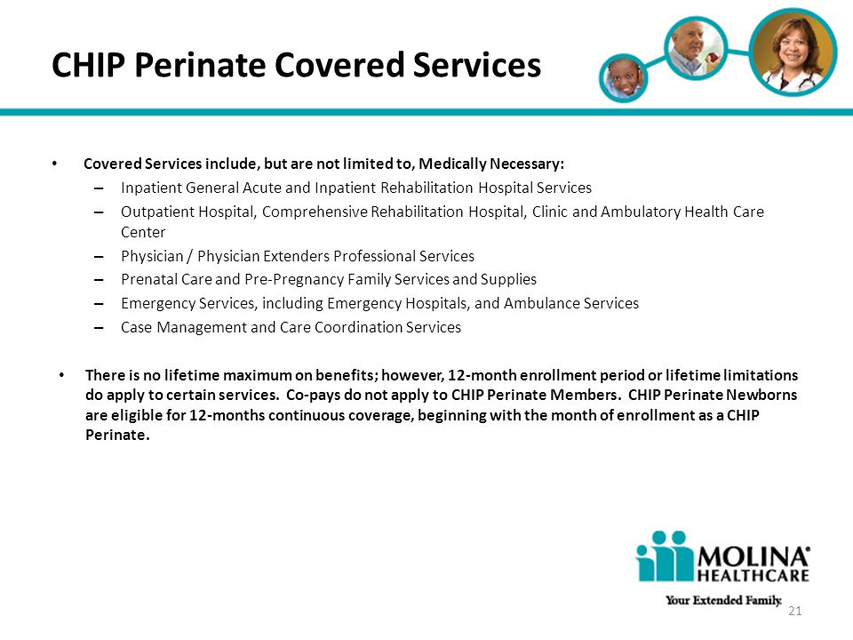 Headline Goes Here Item 1 Item 2 Item 3 CHIP Perinate Covered Services Covered Services include, but are not limited to, Medically Necessary: – Inpati