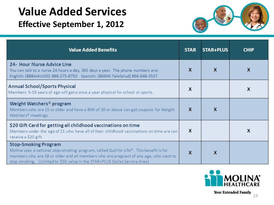 Headline Goes Here Item 1 Item 2 Item 3 Value Added Services Effective September 1, 2012 Value Added BenefitsSTARSTAR+PLUSCHIP 24- Hour Nurse Advice L