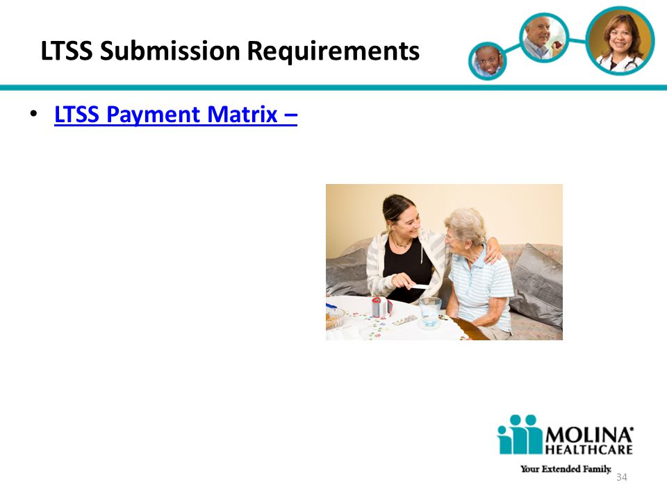 Headline Goes Here Item 1 Item 2 Item 3 LTSS Submission Requirements LTSS Payment Matrix – 34