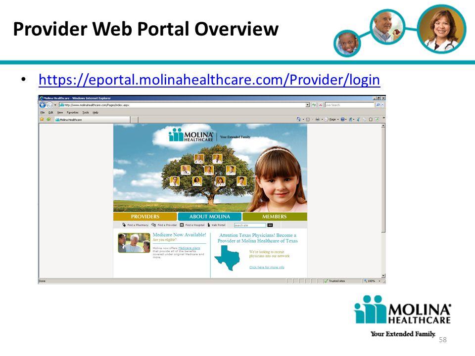 Headline Goes Here Item 1 Item 2 Item 3 Provider Web Portal Overview https://eportal.molinahealthcare.com/Provider/login 58