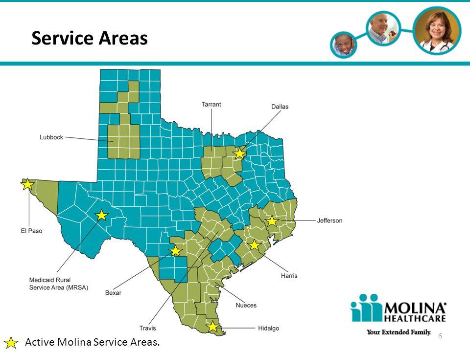 Headline Goes Here Item 1 Item 2 Item 3 Service Areas 6 Active Molina Service Areas.