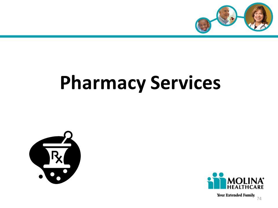 Headline Goes Here Item 1 Item 2 Item 3 Pharmacy Services 74