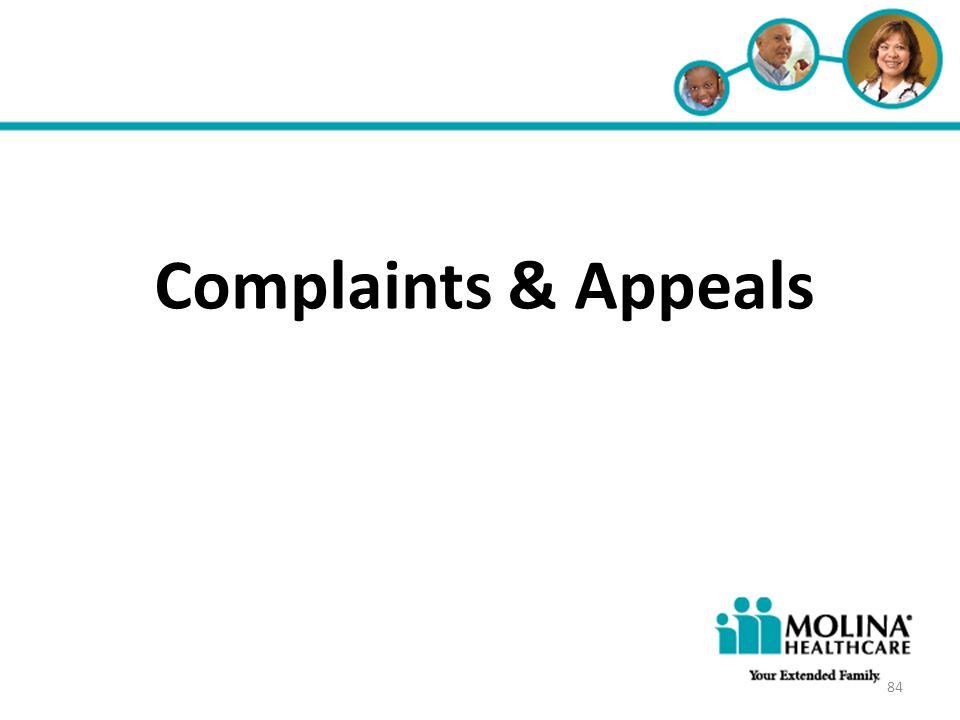 Headline Goes Here Item 1 Item 2 Item 3 Complaints & Appeals 84