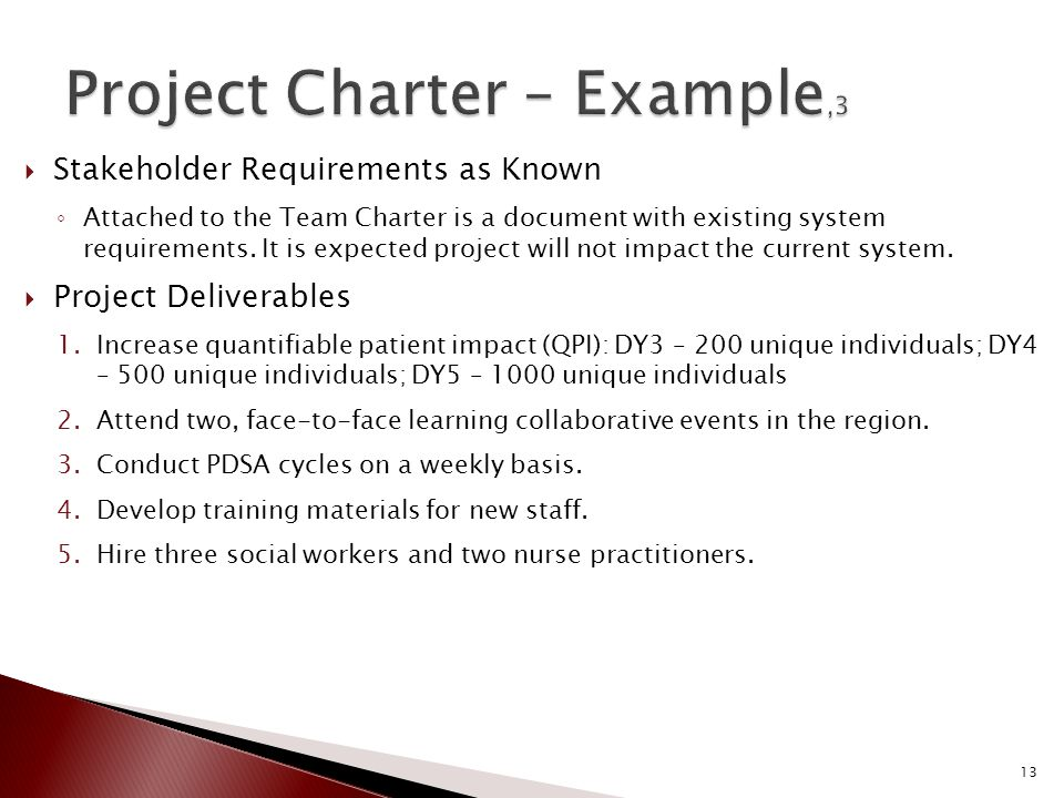  Stakeholder Requirements as Known ◦ Attached to the Team Charter is a document with existing system requirements.