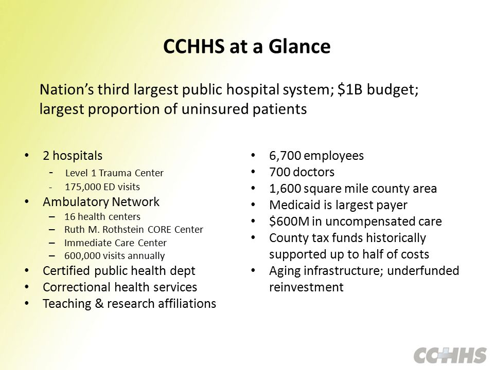 CCHHS at a Glance 2 hospitals - Level 1 Trauma Center - 175,000 ED visits Ambulatory Network – 16 health centers – Ruth M.